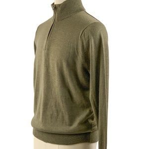 J Crew Slim Merino Wool Half Zip Sweater Green L
